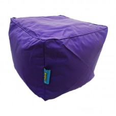 Cube Stool with Piping - Violet Polyester