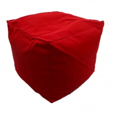 Cube Stool with Piping - Hot Red Polyester