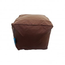 Cube Stool with Piping - Chocolate Polyester
