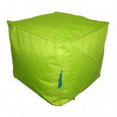 Cube Stool with Piping - Apple Green Polyester