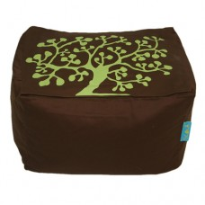 Block Stool - Brown Solid Cotton Twill 'Nature'