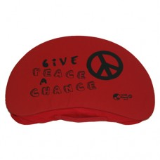Crescent Lap Table - Red Polyester 'Give Peace a Chance'